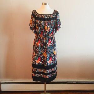 NWT LOFT Women's Floral Print Midi Dress Size L